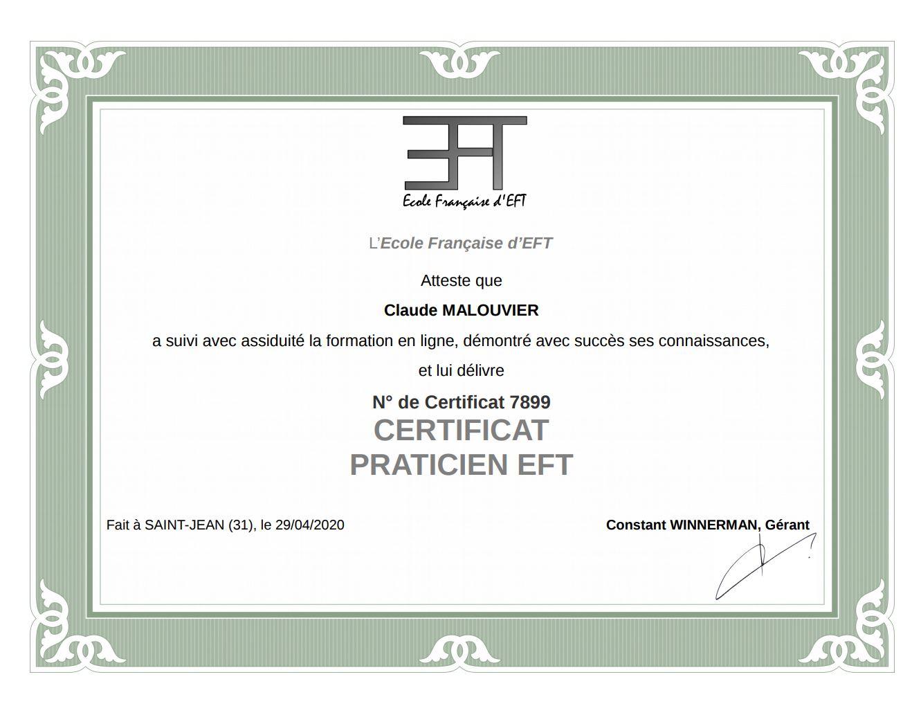 Praticien EFT libération émotionnelle - Sénart 77 - Claude Malouvier