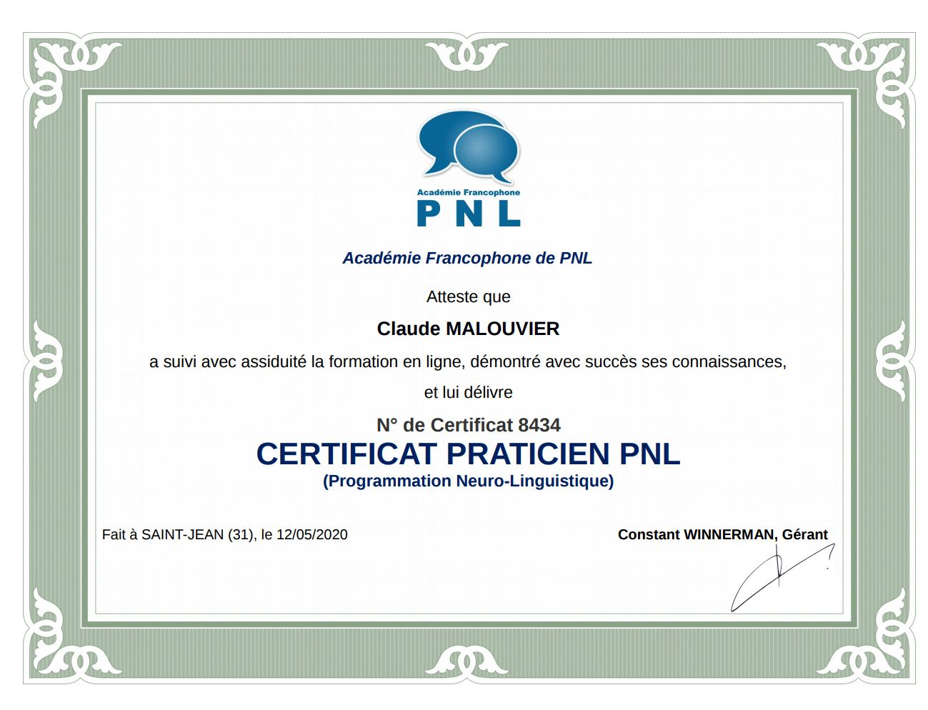 Praticien PNL - Sénart 77 - Claude Malouvier