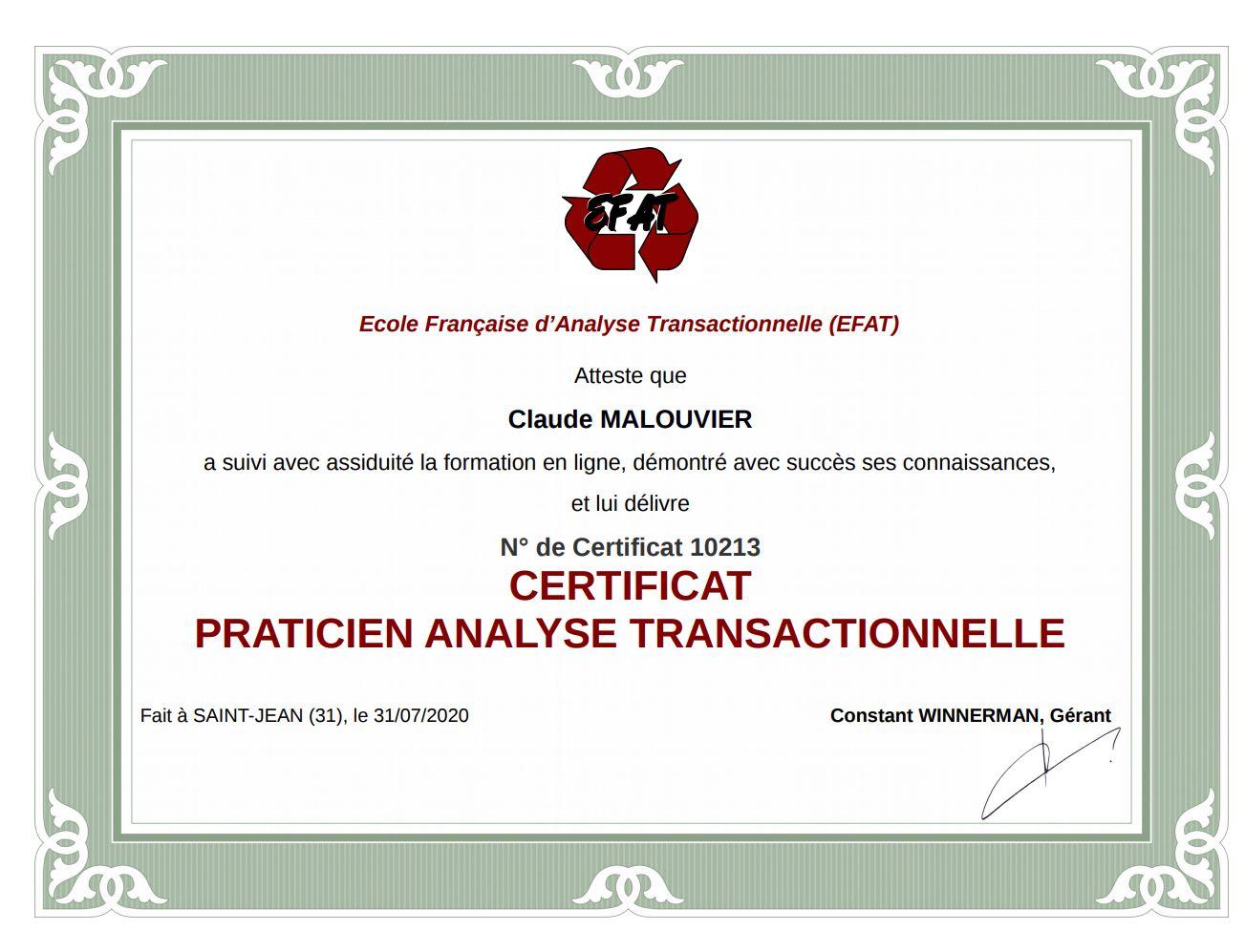 Praticien analyse transactionnelle certifié - Sénart 77